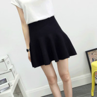 Petite Winter Knit Woven Warm Mini Skater Skirt