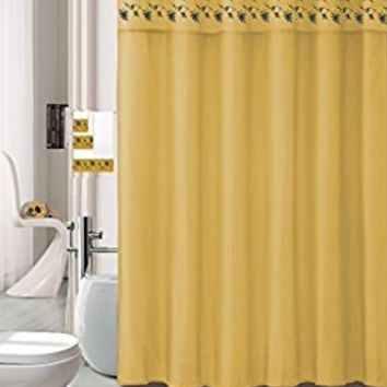 18 Piece Embroidered Floral Bathroom Set Bath Rugs Shower Curtain Hooks & 3pc Towel Set (Gold)
