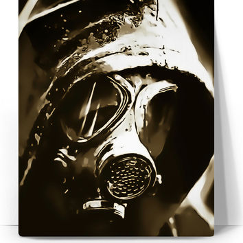 Lone wanderer post-apocalyptic canvas art print, brown, sepia colors, scavenger in gasmask