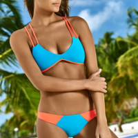 CUTE TWO STRAPS CONTRAST TWO PIECE BIKINIS