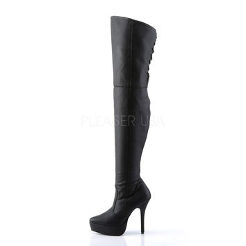 "Indulge 3011 Black Leather Platform OTK Thigh HIGH Boot 5"" Heel  6-16"