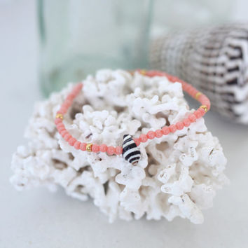 Dainty Coral Beads and Striped Shell