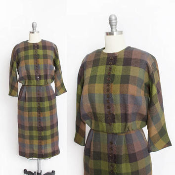 Vintage 1960s Dress - Leslie Fay Wool Plaid Fitted Wiggle Day Dress 60s - Medium