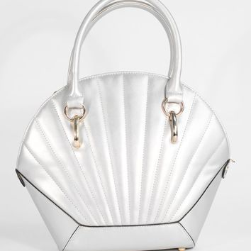 Voodoo Vixen Metallic Silver Sea Shell Handbag