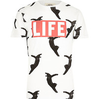 River Island MensWhite Worn By Life flying kitty cat t-shirt