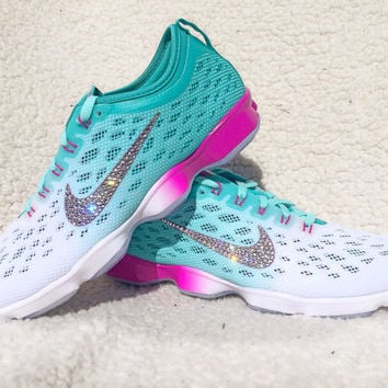 Crystal Nike Zoom Fit Agility Bling Shoes with Swarovski Elements Women's Nike Running Shoes Artisian Teal Hyper Turquoise