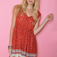 Boho Red Floral Back cut-out Mini