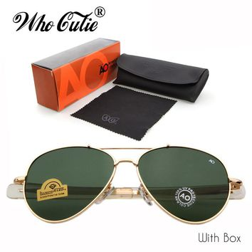 WHO CUTIE Brand AO Sunglasses pilot 90s Men Army Military 12K Gold Tint Frame American Optical Lens Sun Glasses with Box OM288B
