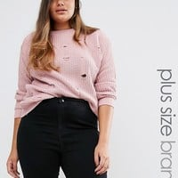 Boohoo Plus Distressed Oversized Sweater at asos.com
