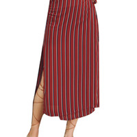 Red High Waist Stripe Side Split Wrap Midi Skirt