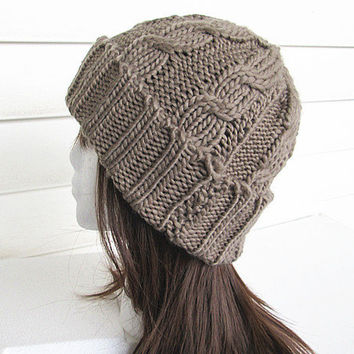 Chunky Knit Hat- Women's Hat -Khaki Cable Knit Hat - Chunky Knit- Watchman Hat.