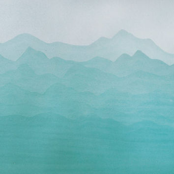 Original watercolor abstract painting. 11x14 Nature. Mountains. Turquoise Green. Medium size.