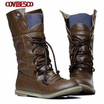 New Plus Size Vintage motorcycle martin ankle boots for women winter autumn snow boots flats motorcycle boots shoes woman