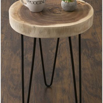 Round Accent Table Teak Wood ACCENT Decorative COFFEE End Living Room Furniture