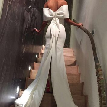 Arabic White long Formal Evening Dresses Straight Off the shoudler Low Back Sexy Slits Bow Knot Robe De Soiree