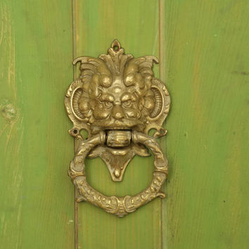 Antique Brass Door Knocker. Mythological Bacchus Brass Hardware. Antique Green Man Door Knocker.