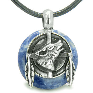 Amulet Howling Wolf Feathers Powers Sodalite Lucky Donut Leather Pendant Necklace
