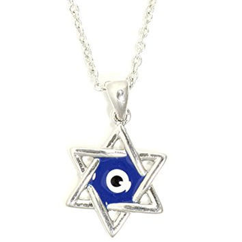 Evil Eye Star of David Necklace Silver Tone Judaica Charm Pendant NR08 Fashion Jewelry