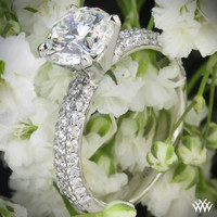 "18k White Gold ""Rounded Pave"" Diamond Engagement Ring"