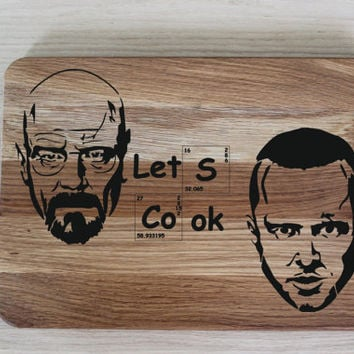 Breaking Bad cutting board Heisenberg custom cutting board Gift for Him Walter White gift, Lets Cook cutting board, LET'S COOK