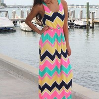 Yellow Multi Color Chevron Maxi Dress