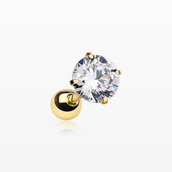 Golden Round Gem Crystal Cartilage Tragus Earring