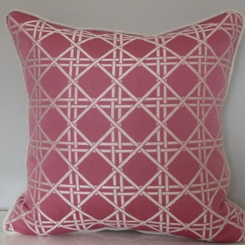 "Barboza Rosewood Decorative Pillow(20x20"") Geometric/Pink Cream and Gray"