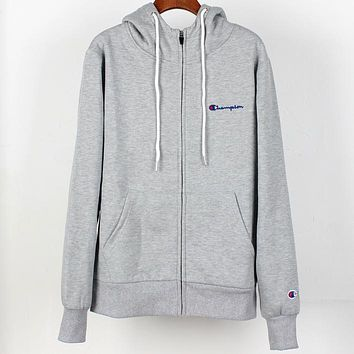 Champion autumn and winter plus velvet warm men and women sports and leisure jacket zipper hoodie Grey