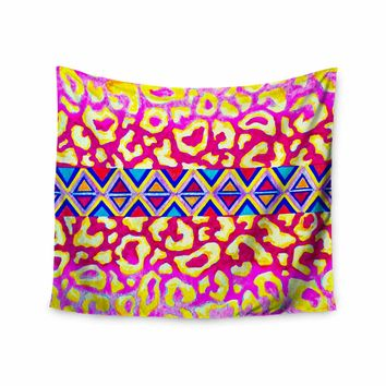 "Ebi Emporium ""The Tribal Leopard - Pink"" Pink Painting Wall Tapestry"