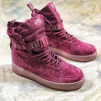 VON3TL Nike Special Forces Air Force 1 SF AF1 Suede Red Wine Boots Sport Shoes