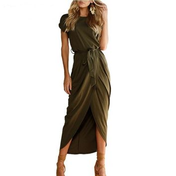 6 Colors Sexy Summer Dress Lady Outfit High Split Casual Long Maxi Dress Solid Women's Retro Dresses With Belt Vestidos