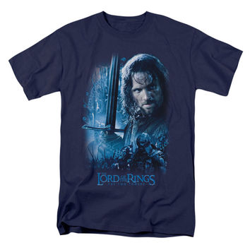 Lord Of The Rings Men's  King In The Making T-shirt Navy Rockabilia