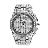 Mens AP Style Platinum Tone Baguette Lab Diamond Watch