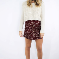 Over The Moon Cream Ribbed Sweater Crop Top With Fuzzy Front