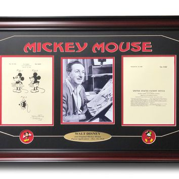WALT DISNEY / MICKEY MOUSE PATENT DRAWING FRAMED PHOTO COLLAGE #D/250 PINS WORLD LAND