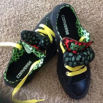 Converse All Stars; Black, Green and Red Insides, Yellow Laces