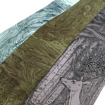 Men's Gift - Tangled Forest Deer Tie - Screen Printed Microfiber Necktie