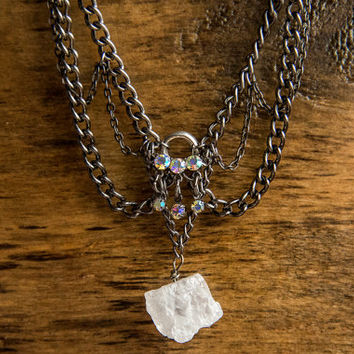 FESTIVAL QUEEN CHOKER - Swarovski crystals clear quartz crystal chain choker necklace boho chic gypsy moon child  trendy- Charlie Girl Gems
