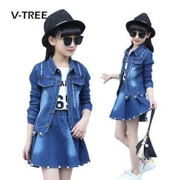 V-TREE Girls Clothing Sets Denim Jacket And Skirts Suit Sets For Girl Teenage Clothes School Kids Childrens Baby Clothes 12 10T