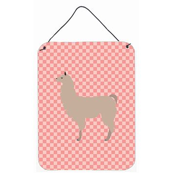Llama Pink Check Wall or Door Hanging Prints BB7916DS1216