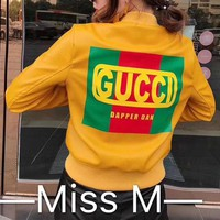 """Gucci"" Women Fashion Letter Logo PU Skin Short Section  Cardigan Zip Jacket Long Sleeve Coat"