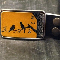 The songbird leather belt buckle by flightpathdesigns on Etsy