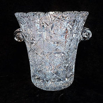 LARGE Cut Crystal Glass Ice Bucket / Glass Champagne Bucket / Wine Cooler / Wedding Table Reception / Home Decor / Interior Decorator