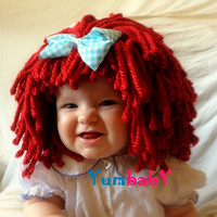 Baby Hat- Ready to Ship- Baby Girl Wig- Baby Doll Hat- Raggedy Ann- Red Hair Wig- Baby Costume- Dolly Hair- Baby Girl Photo Prop