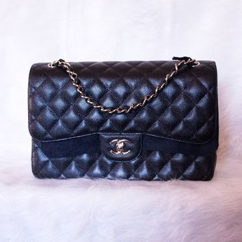 NEW CHANEL CLASSIC JUMBO DOUBLE FLAP BAG - BLACK CAVIAR - SILVER HARDWARE RARE!