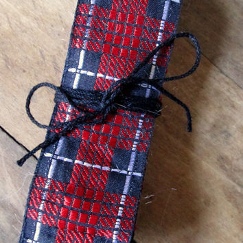 Red Ribbon 3 yards tartan plaid red black gift wrapping mixed media vintage trim scraps destash lot grab bag stash sewing supply notions