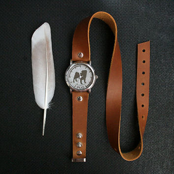 free shipping - chestnut ginger leather bracelet wrap around wrist with engraved Pug watch face