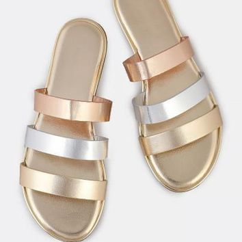Metallic Multi Color 3 Strap Slip On Sandals GOLD