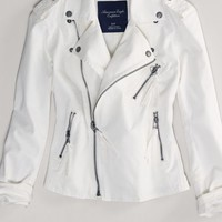 AEO Women's Denim Motorcycle Jacket (Cream)