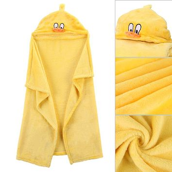 Lovely Soft Coral Fleece Baby Bath Towel Animals Hooded Kids Bathrobe Cloak Cartoon Baby Blanket Quilt Newborn Envelope Swaddle